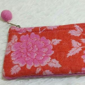 Vintage Felted Floral Pom-Pom Zipper Pouch